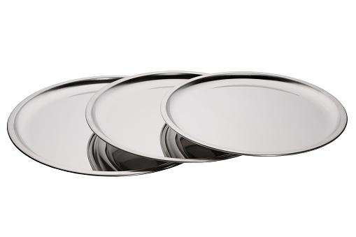 Set Of Stainless Round Trays - zdjęcia stockowe i więcej obrazów Antyczny