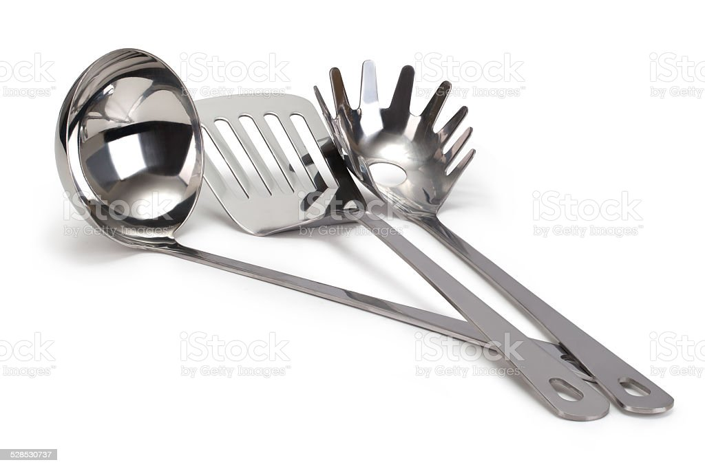 set of stainless steel kitchenware stock photo