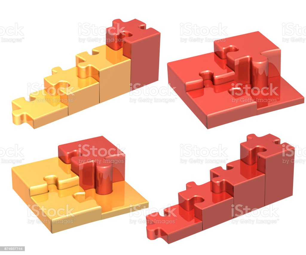 Set of stairs from four pieces of the puzzle stock photo