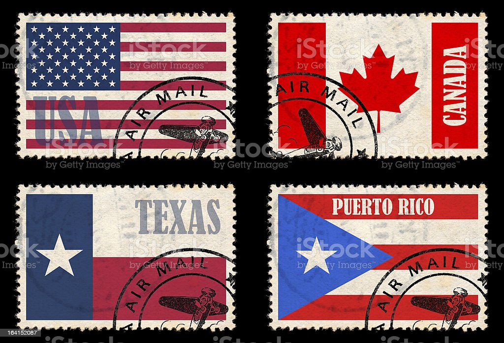 Set of stamps with flags from North America stock photo