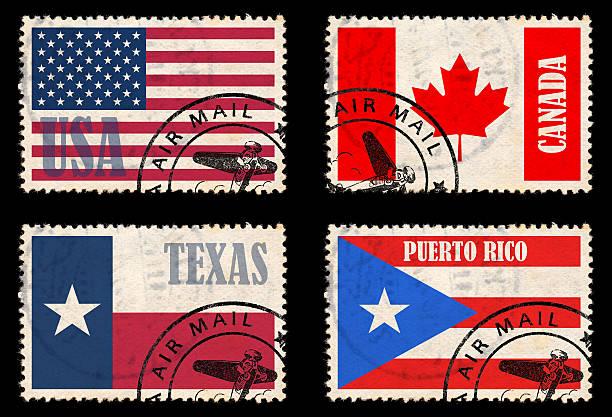 Satz von Briefmarken mit Flaggen von Nordamerika – Foto