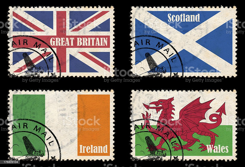 Set of stamps with flags from the British Isles royalty-free stock photo