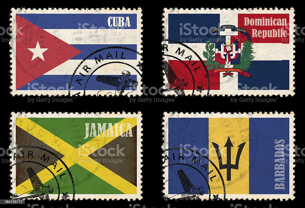 Set of stamps with flags from the Caribbean stock photo