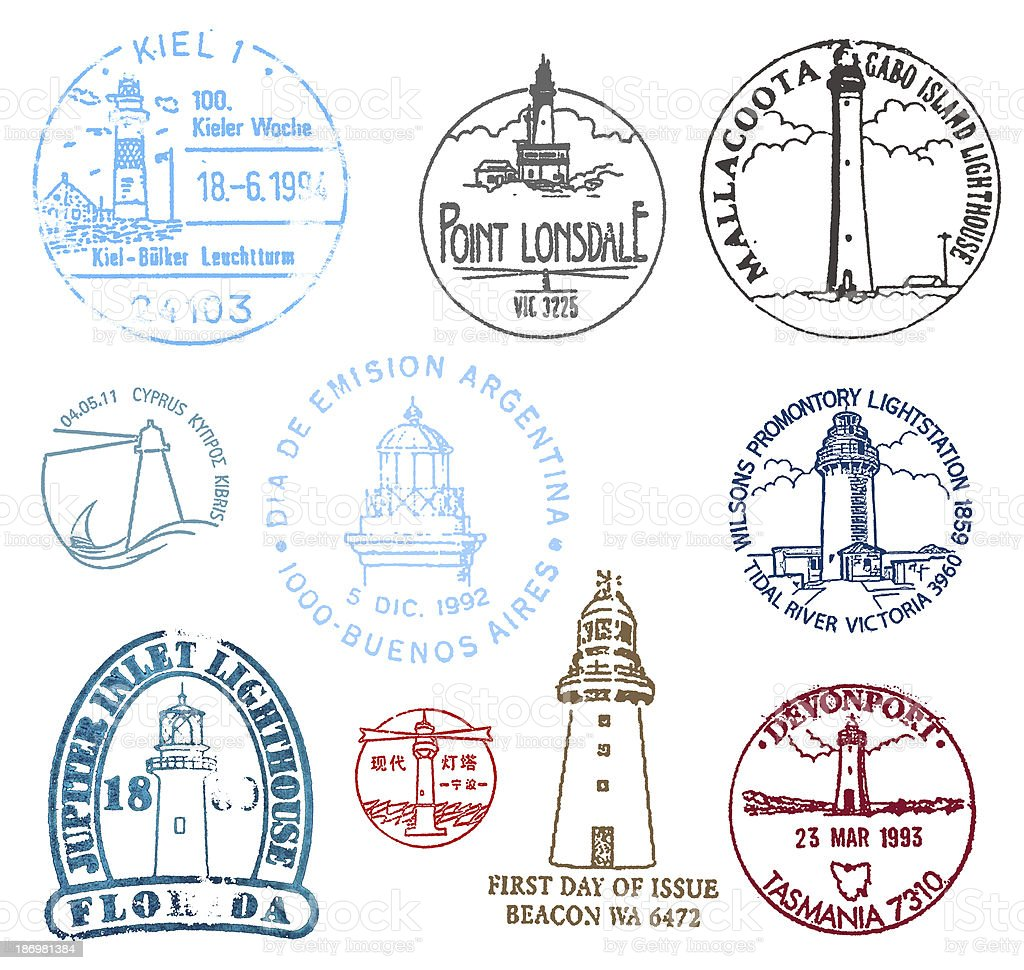 Set of stamps with various lighthouses stock photo
