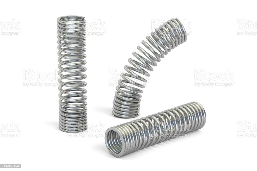 set of steel helical coil springs, 3D rendering stock photo