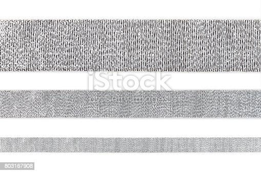 istock Set of straight shiny silver ribbon isolated on white background, design element 803167908