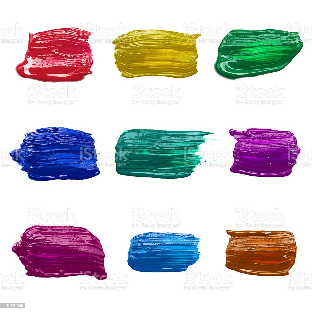 Set of strokes multicolored paint stock photo