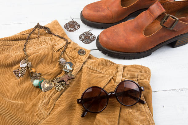 set of stylish female things - corduroy stock pictures, royalty-free photos & images