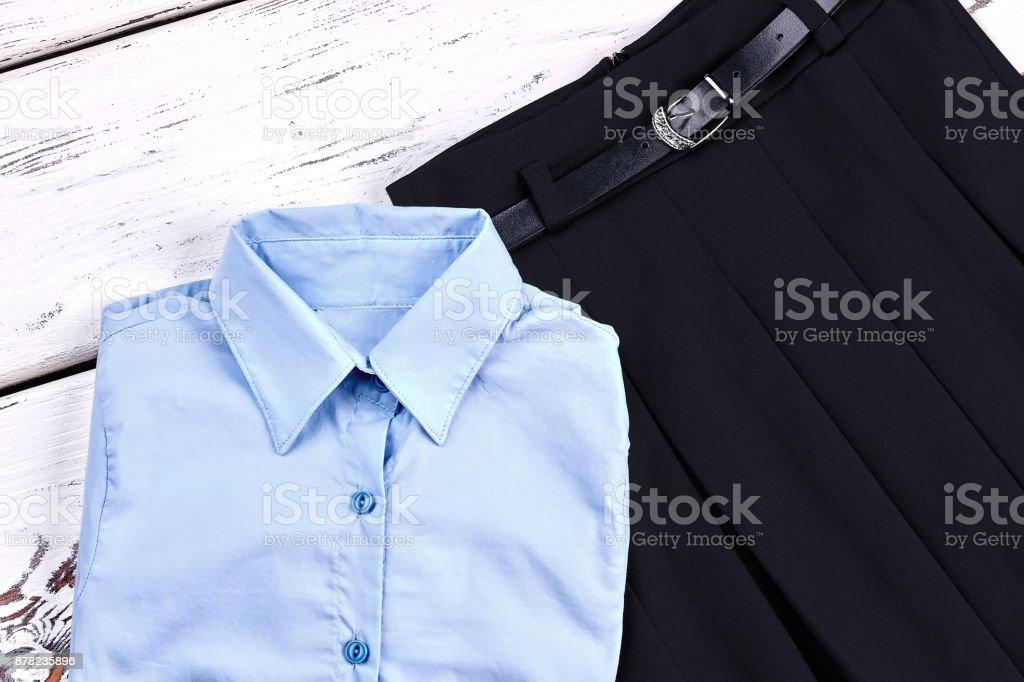 Set of stylish uniform for school girl. royalty-free stock photo