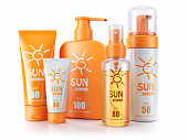 Set of sunscreens. Cream, oil and spray. 3d render.