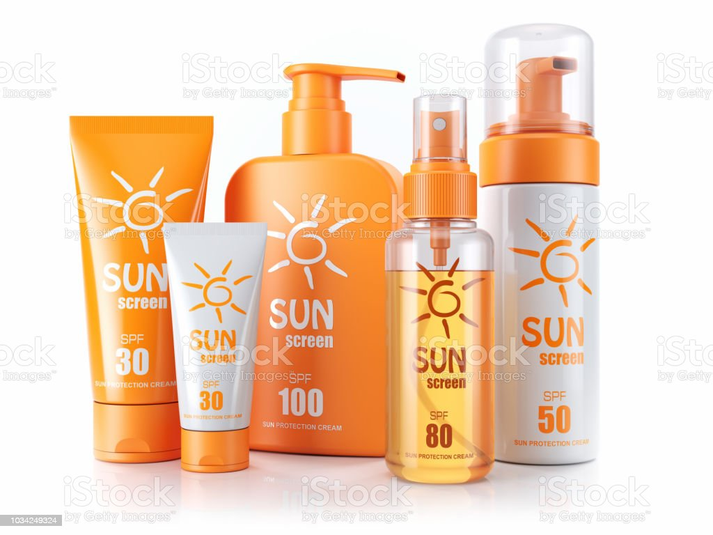 Set of sunscreens. Cream, oil and spray. 3d render. stock photo