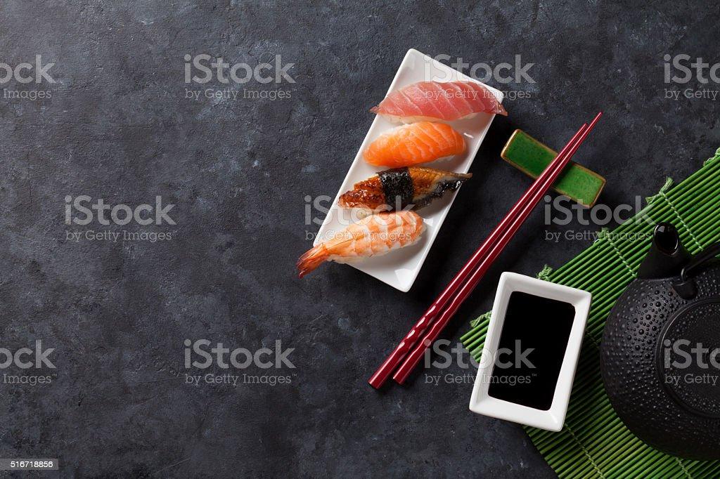 Set of sushi and green tea stock photo