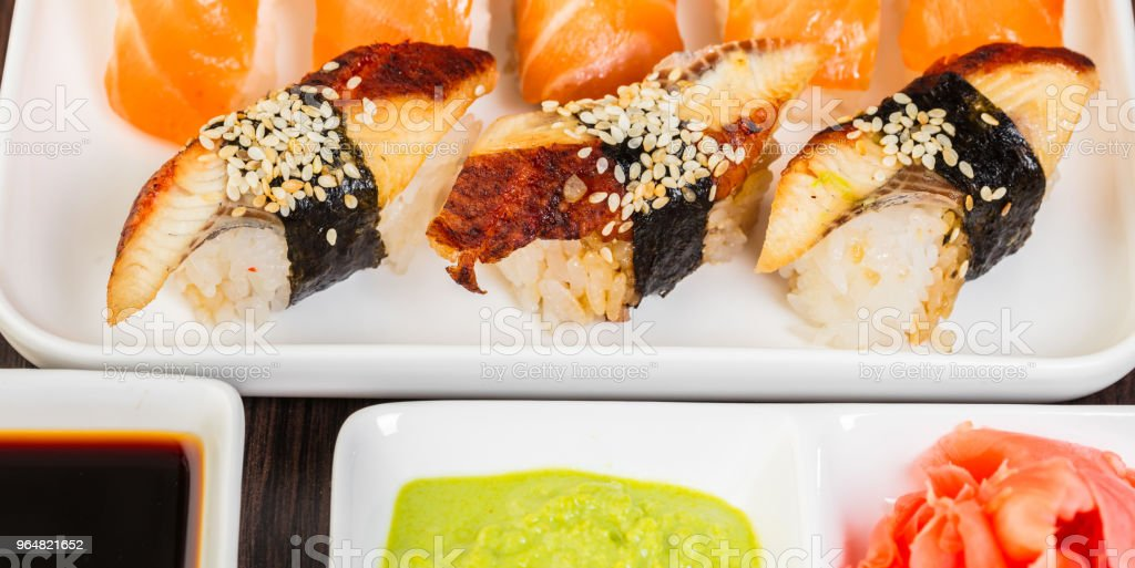 set of sushi and sauces close-up royalty-free stock photo