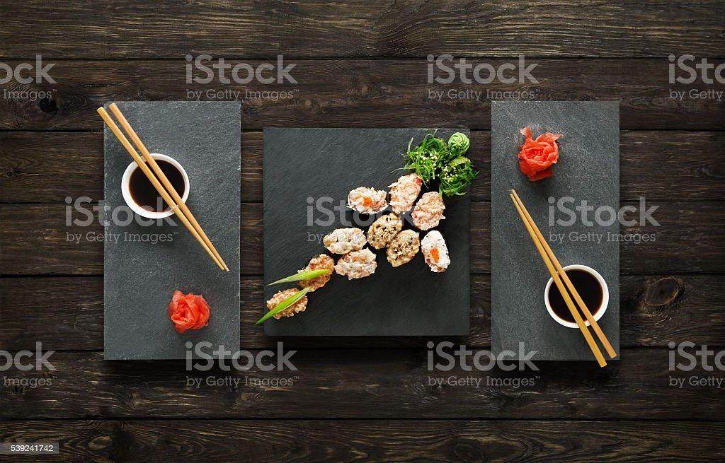 Set of sushi gunkan at wood. royalty-free stock photo