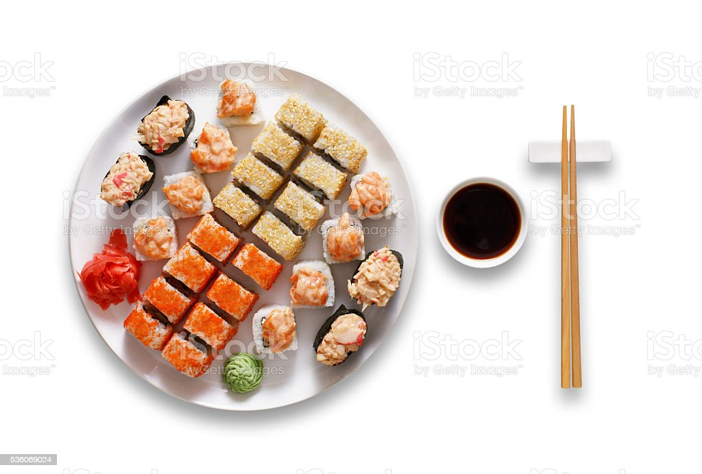 Set of sushi maki and rolls isolated at white. stock photo