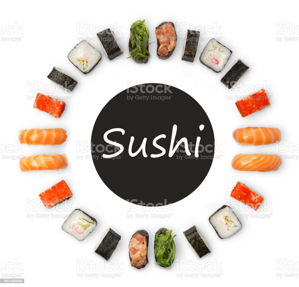 Set of sushi, maki and rolls isolated on white background stock photo