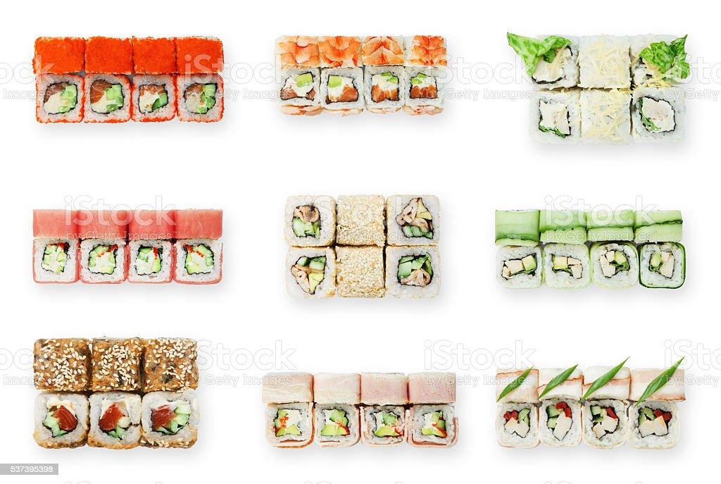 Set of sushi rolls isolated at white stock photo