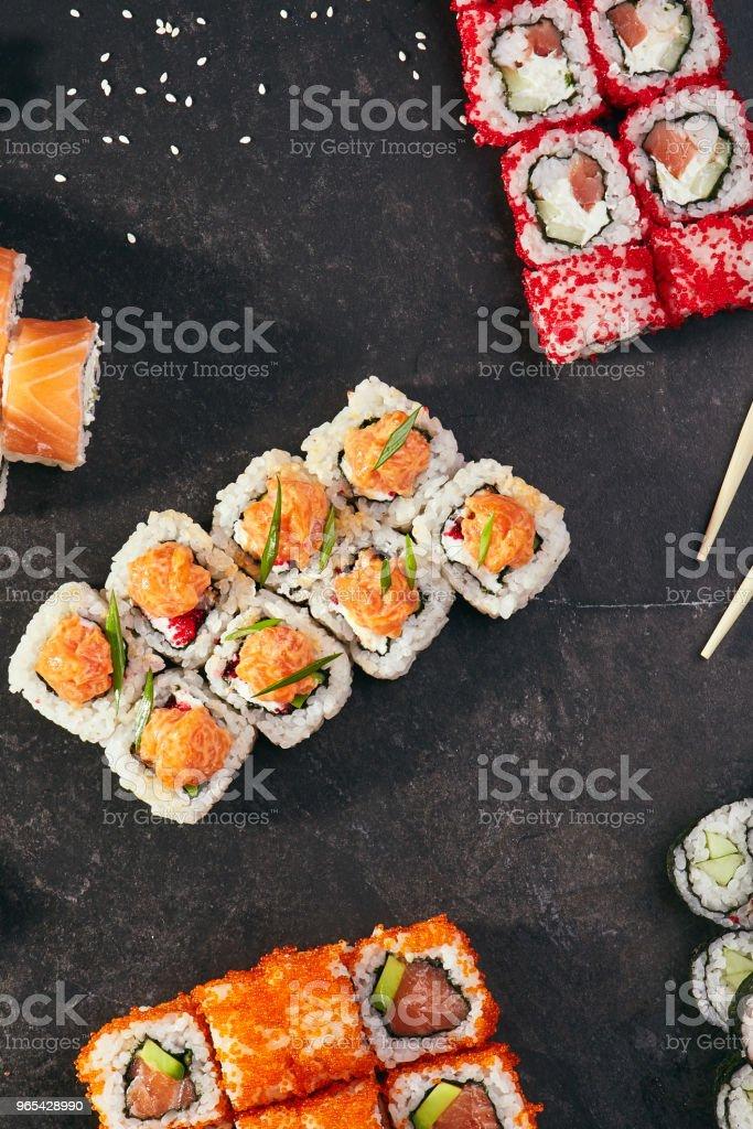 Set of sushi rolls royalty-free stock photo