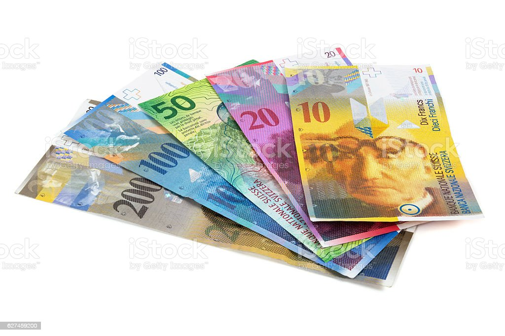 Set of swiss franc banknotes on white background stock photo