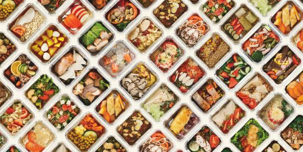 白色背景的食品盒套 - 即食口糧 個照片及圖片檔