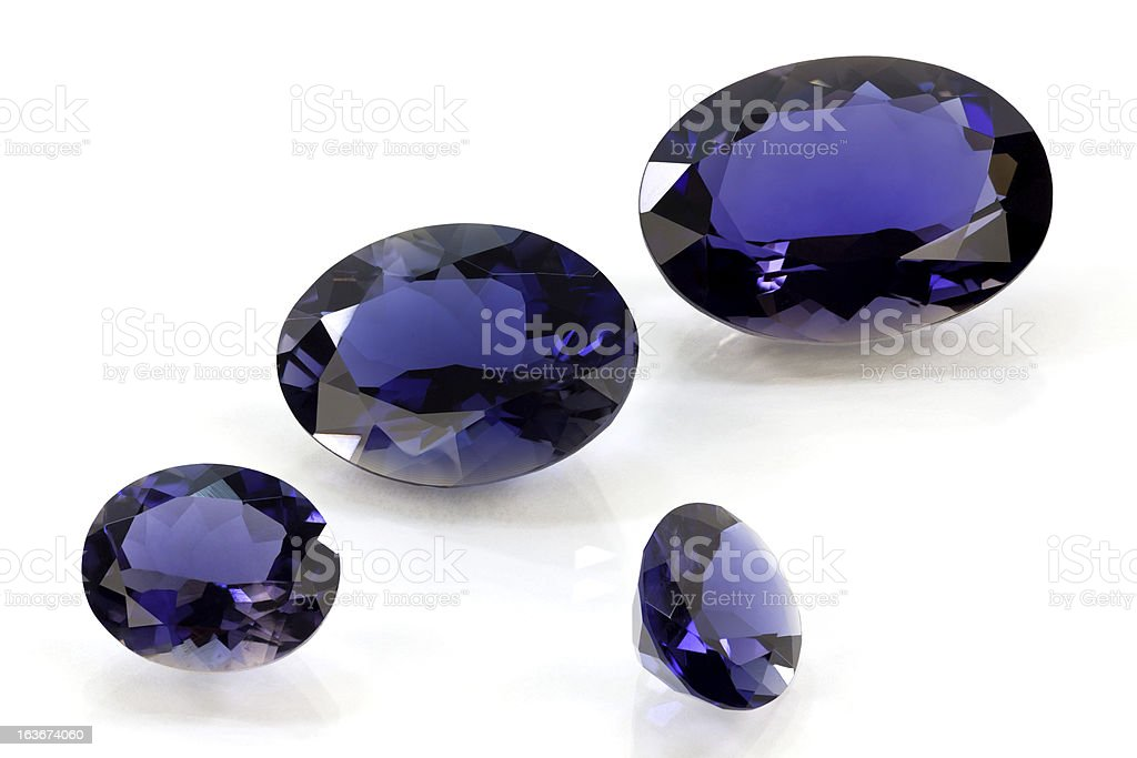 Set of Tanzanite or Sapphire and Iolite royalty-free stock photo