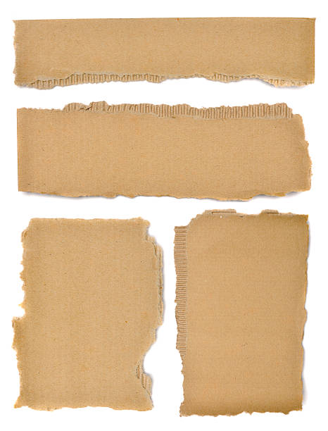 set of textured cardboard with torn edges - 厚紙皮 個照片及圖片檔