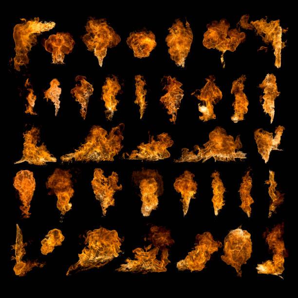 satz von texturen flammen, feuer isoliert - feuerkugel stock-fotos und bilder