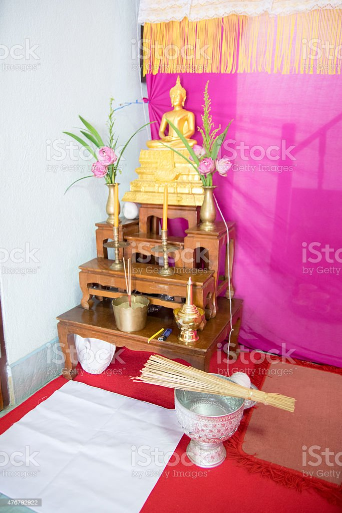 set of Thai altar table with Buddha statue stock photo