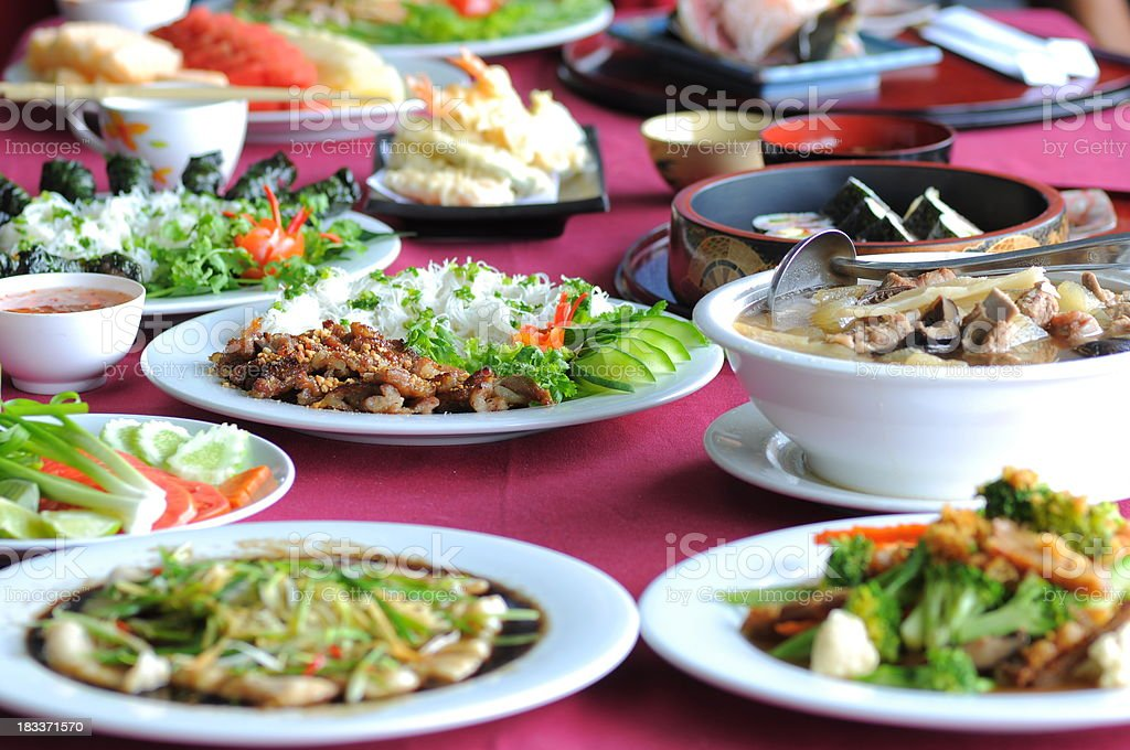 Set of Thai and Asian Food stock photo