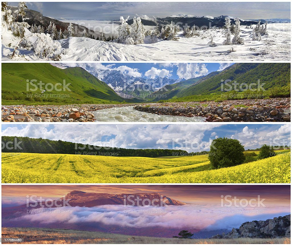 Set of the 4 seasons landscape for banners royalty-free stock photo