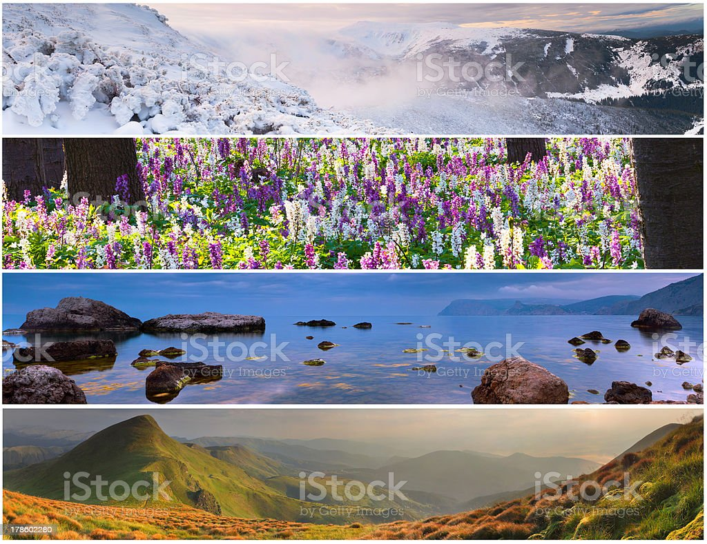 Set of the 4 seasons landscape for banners royalty-free stock photo - Set Of The 4 Seasons Landscape For Banners Stock Photo & More