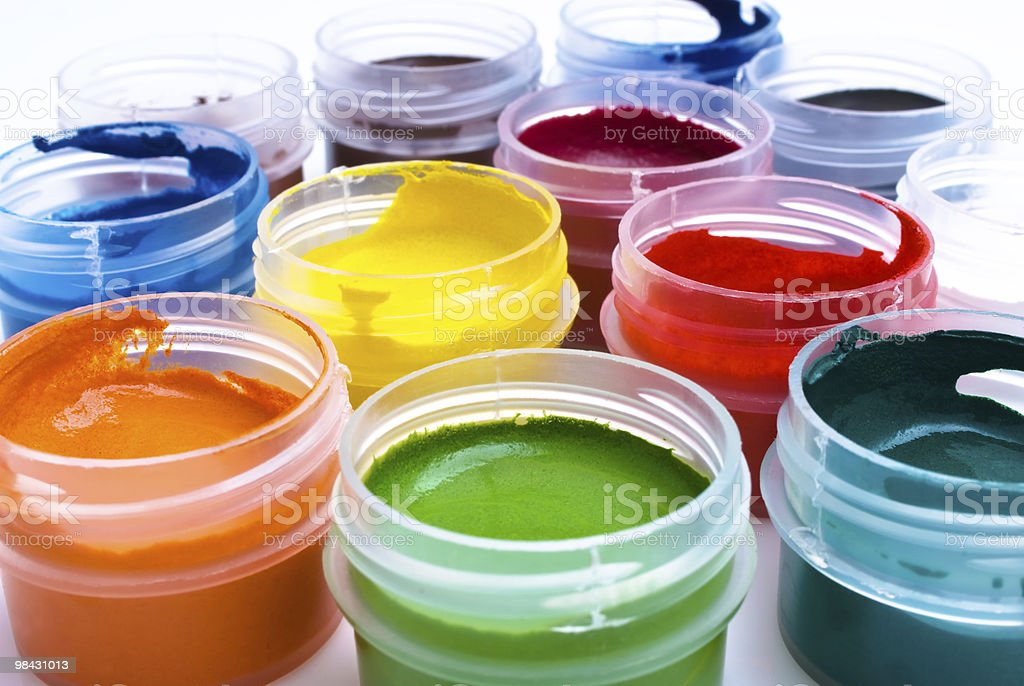 set of the watercolor gouache paints royalty-free stock photo