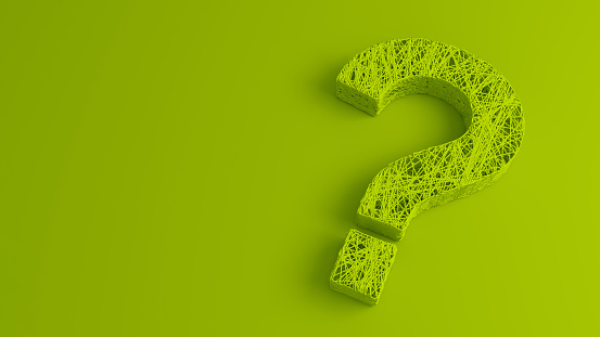 istock A set of thin thread intertwined in the shape of a question mark on a green background. 3D illustration. 1214009243