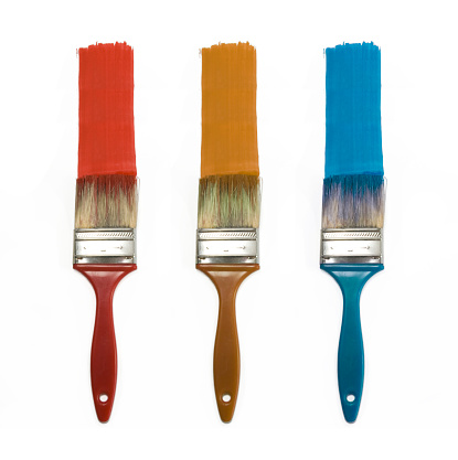 Set Of Three Color Brushes Stock Photo - Download Image Now