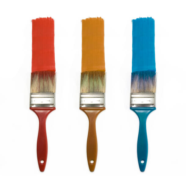 set of three color brushes set of three color brushes isolated for painting paintbrush stock pictures, royalty-free photos & images