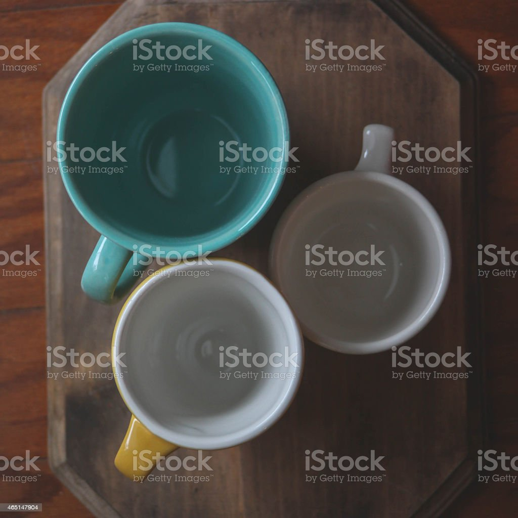 Set of three cups stock photo