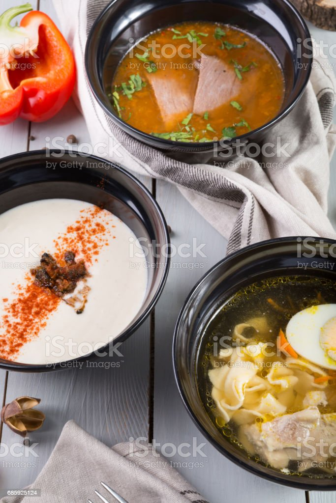 Set of three different soups stock photo