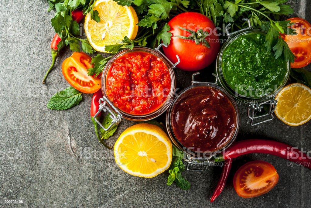 Set of three indian chutney stock photo