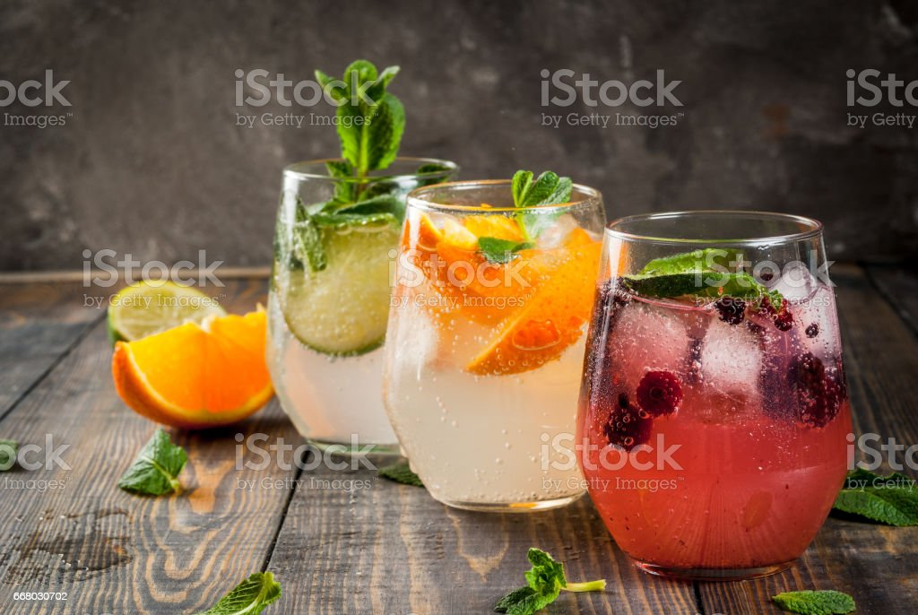 Set of three kinds of gin tonic stock photo