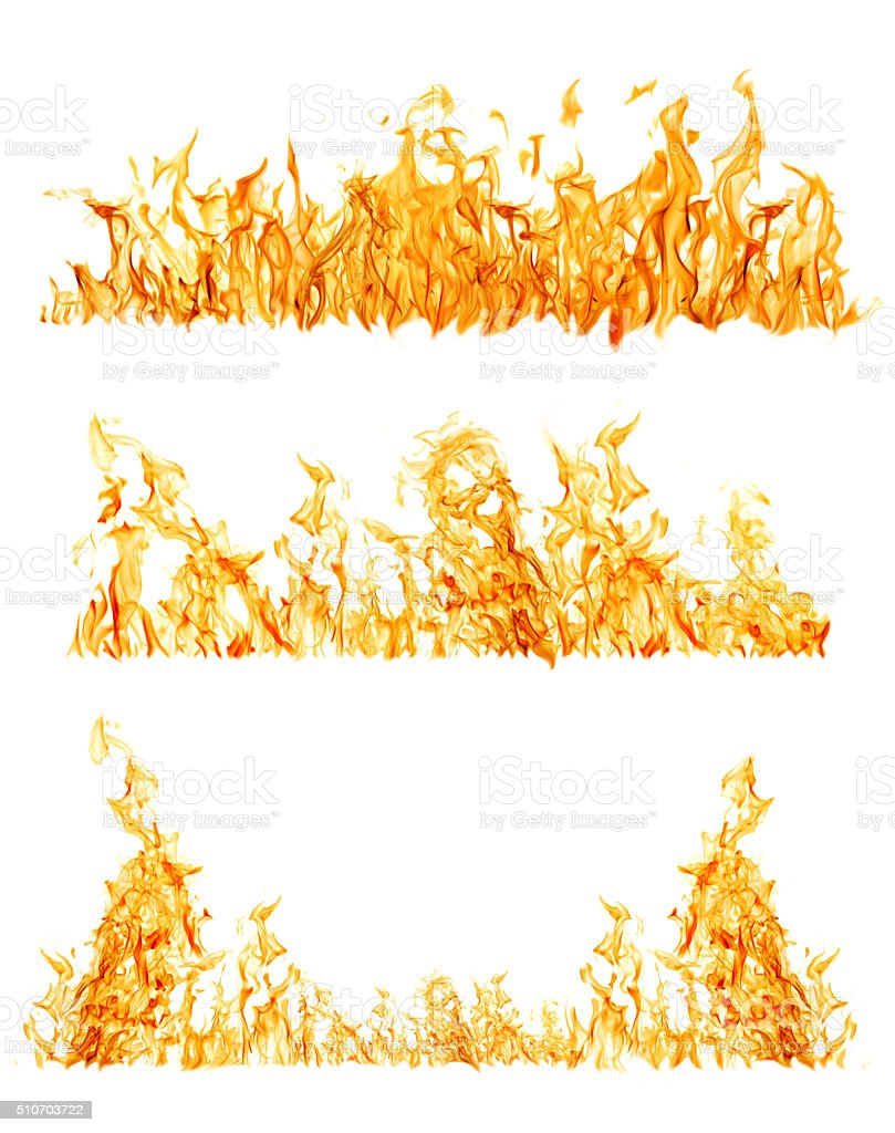 set of three orange flame strips on white stock photo