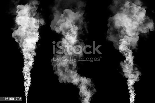 set of three white smoke or steam plumes with tapered ends isolated on black background for graphic resource