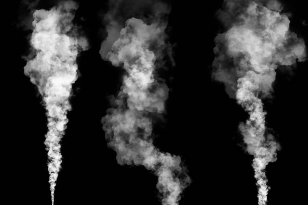 set of three steam or smoke plumes on black set of three white smoke or steam plumes with tapered ends isolated on black background for graphic resource smoke stock pictures, royalty-free photos & images