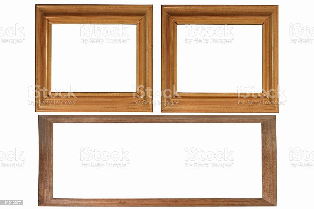 Set Of Three Wooden Photo Frames Isolated On White Stock Photo ...