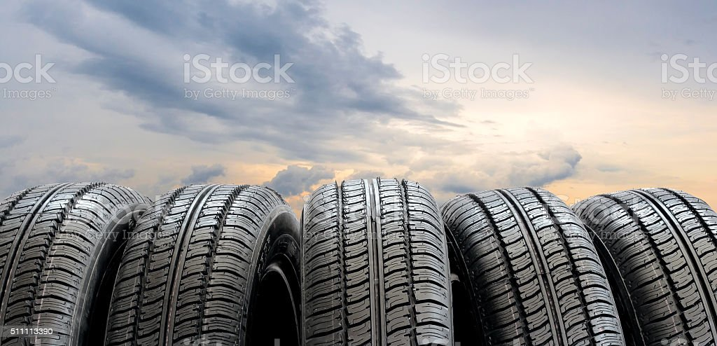 Set of tires stock photo