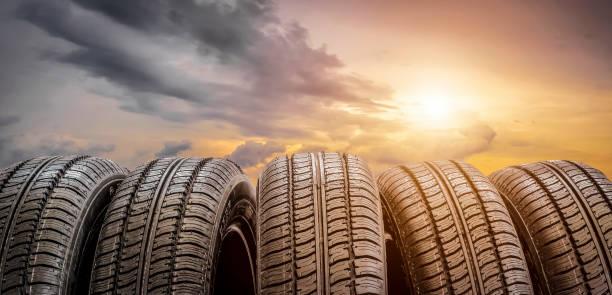 Set of tires stock photo