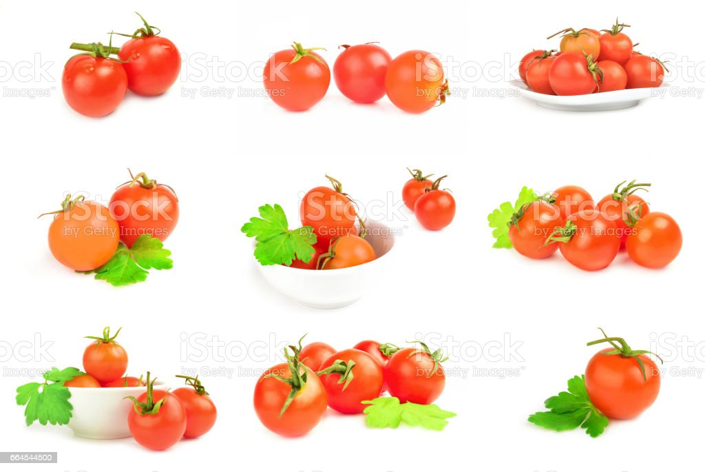 Set of tomatoes isolated on a white background royalty-free stock photo