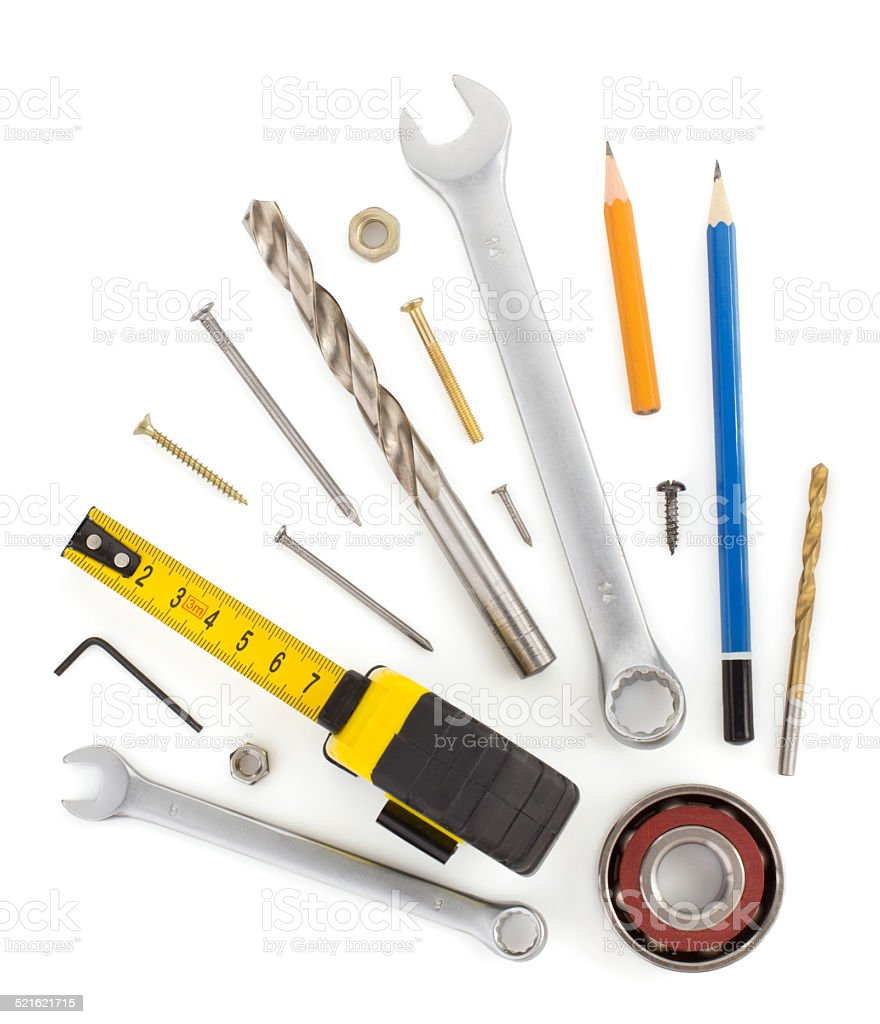 set of tools and instruments on white stock photo