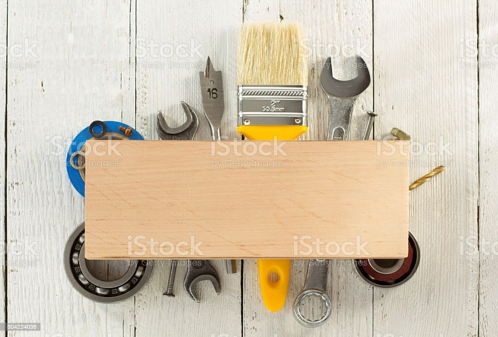set of tools and instruments on wood stock photo