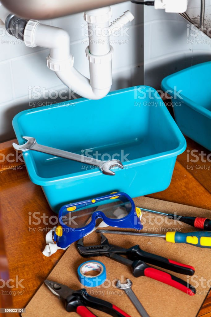 set of tools for repair of  hydraulic valve stock photo