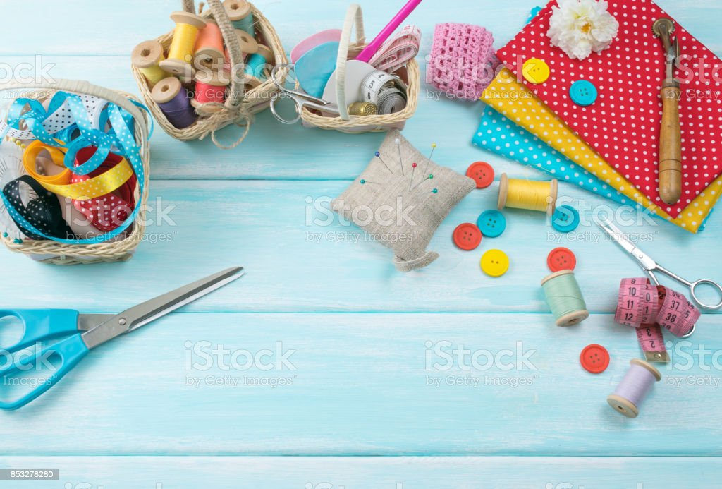 Set of tools for sewing and fabric stock photo